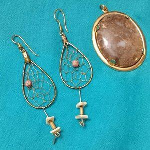 Jewelry - *FINAL PRICE* Dream Catcher Earrings + Pendant